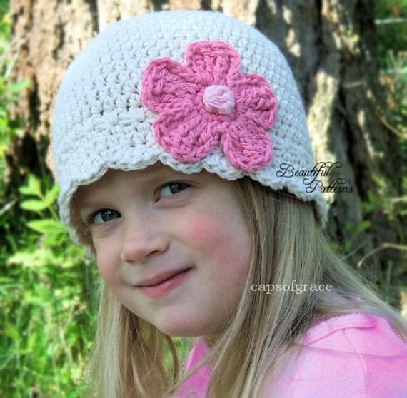 Daisy Crochet Baby Hat Pattern : Crochet Hat Pattern Daisy Flower Flapper Beanie PDF 120