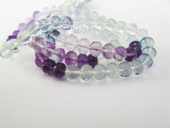 AAA Fluorite Rondelles, 4-5mm, Micro Faceted, aaagems, Full Strand, 16 inches