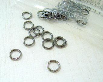 Gunmetal Jump Rings (100) 5mm Antique Silver Pewter Gun metal JumpRings Silver Plated 18 Gauge Wholesale Jewelry Supply CrazyCoolStuff