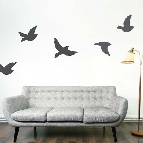 Wall Decor Bird Design : Flying birds removable vinyl wall decals bird decal