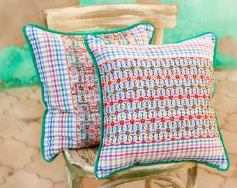 """Set of 2  cotton pillow covers handle embroidered sashiko 18"""" multy color, traditional japanese embroidery, tribal art"""