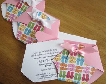 Handmade Baby Shower Invitation - Diaper Shape w/ Flip Flops front