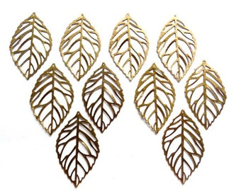 10 Antique Bronze Leaf Charms - 21-48-4