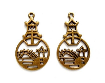 2 Antiqued Bronze Asian Pagoda Pendant/Charms - 27-6