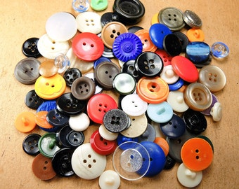 Vintage Multicolored Different Buttons - set of 100 - b26