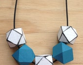 Winter Forest - Wooden Geometric Necklace Teal and White. On adjustable cord or Stirling Silver Chain.