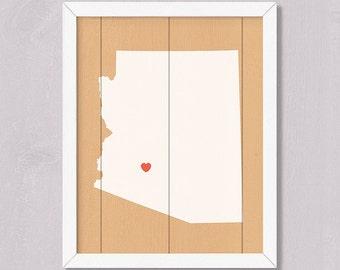 ARIZONA Rustic home decor 16x20 Handmade Personalized Sign Custom Heart Location Wedding Bridal shower Housewarming Family gift