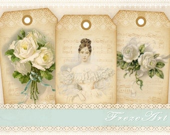 Vintage French gift tags Fashion gift tags on Printable sheet Digital collage sheet Vintage images