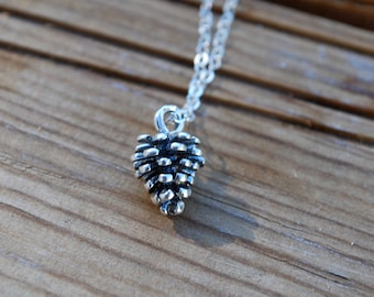 Sterling silver pinecone necklace, small pinecone necklace, baby pinecone necklace, silver pinecone necklace, gift