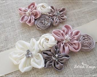 Sale) Set of Wedding Sash Belt & Headpiece, Bridal Flower Sash Belt, Vintage Wedding, Bridal Set- SB141ivory