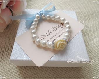 Flower Girl Bracelets, Ivory Bracelet, Something Ivory, Flowergirl Gifts, Girl Bracelets, Bow Brecelets-B144rose