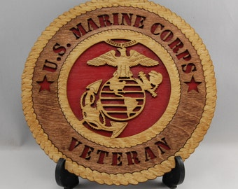 Mini Laser cut  US Marine Corps Veteran desk plaque.  A great gift for a USMC veteran for the holidays.