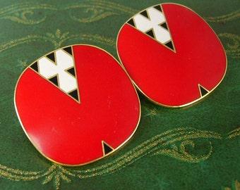 Mantra Laurel Burch Earrings Red Enamel  Clip Ons Vintage Black Pop Art Birthday Valentines