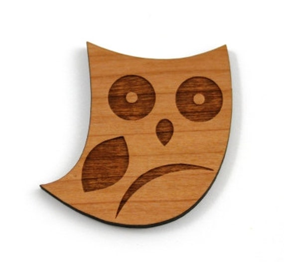 Laser Cut Supplies- 1 Piece.Woodland Owl Charms - Laser Cut Wood Owl -Brooch Supplies- Little Laser Lab Sustainable Wood Products