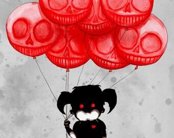 Creepy Balloon Girl Fine Art Print