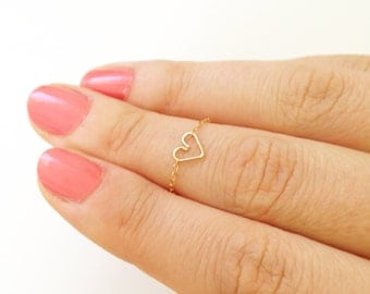 Tiny heart ring, silver knuckle ring, gold stacking rings, 14k Gold above knuckle ring, pinky ring, knuckle ring, tiny ring, stackable ring