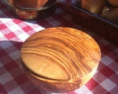 1 x Storage tin, jar for herbs etc. / small bowl made out of olive wood - handmade