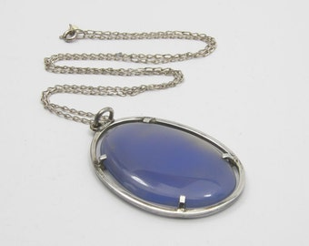 Vintage 925 Silver & Blue Chrysophase Pendant with Chain