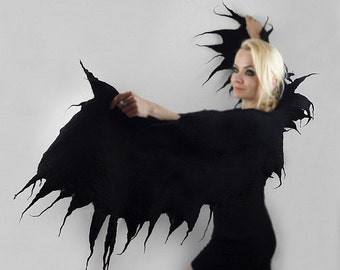 Felted Scarf Wings Scarf Surreal Gothic BLACK WINGS SCARF Shawl Nunofelt Wings Wrap Nuno felt wearable art Silk  Fiber Art