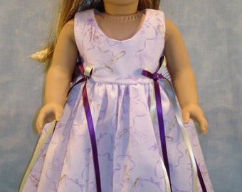 18 Inch Doll Clothes - Ballet Slippers on Lavender Dress handmade by Jane Ellen to fit 18 inch dolls