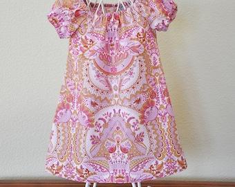 Toddler Girls Dress Little Girl Peasant Dress Amy Butler Summer Dress Pink Girls Dress