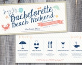 Printed / Bachelorette Beach Weekend / Personalized Icons / Custom Color / Timeline