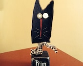 Primitive Black Cat Shelf Sitter on Block Hand Crafted and Painted