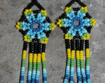 Huichol Peyote Beaded Earrings S