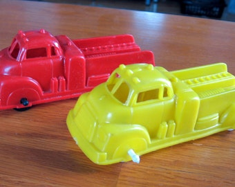 Vintage 1950s-60s Set of 2 Red and Yellow Soft Plastic Fire Trucks