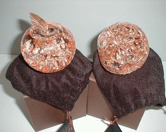 """Hand blown glass copper leaf snow-globes - 2 1/2"""" high - made in Minnesota"""