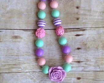 Pastel Chunky Bubblegum Necklace~ Rose Garden