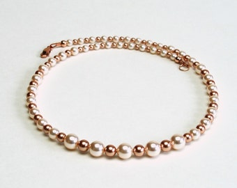 Cream and Rose Gold Pearl Necklace - Swarovski Crystal Pearl Necklace, 18 Inches - Bridal Jewelry - Pearl Wedding Jewelry