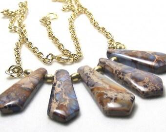 Purple Ocean Jasper Fan Necklace Earrings Bohemian Jewelry