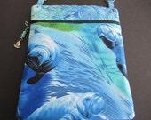 Manatee/blue green batik top single front pocket
