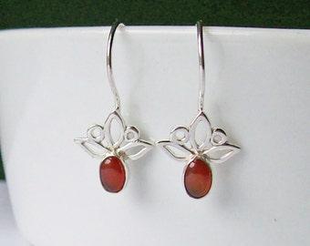 Sterling Silver and Carnelian Trillium Drop Earrings, Red Semi-precious Gemstone Lightweight 925 Silver Flower Earrings
