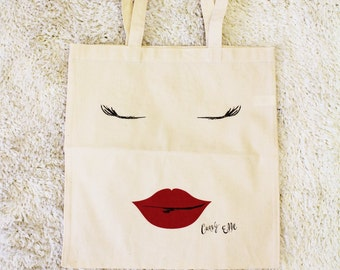 Lips & Lashes Canvas Tote Bag  -  The Curvy Elle Brand