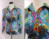 Neon Bright Swirl Flower Print Polyester Button Down Shirt Disco Sz Medium