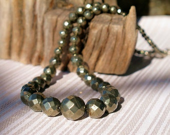 pyrite necklace, graduated stone necklace, bronze necklace, gemstone necklace, round bead necklace, pyrite jewelry, handmade necklace