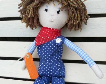 Boy Doll. Boy Rag Doll. Traditional Doll. Soft Doll. Boys Doll. First Birthday Gift. Christening Gift.