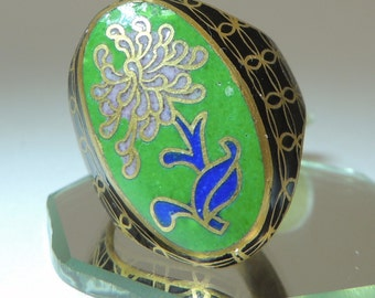 Cloisonne Floral Vintage Ring sz 9 1/2