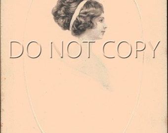 Antique 1800s Style Fashion Lady Artwork Postcard Copyright 1910 K. Choos