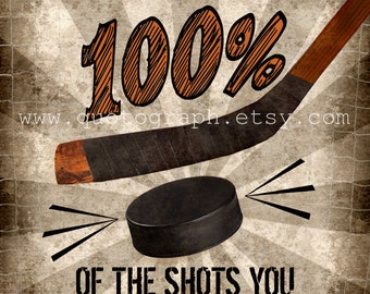 Wayne Gretzky Hockey Quote - photo print -  Poster Wall Art Textured Distressed Beige Tan Black Vintage Sports Dad Coach Boys Room Decor
