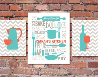 Charming Kitchen Art Personalized Prints, Utensils, Cups, Coffee Pot, Wine, Coral,