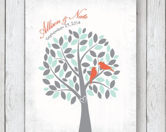 Bridal Shower Gift Love Birds in a Tree Personalized Art Print, Couples, Wedding, Anniversary // 8x10  // Grey, Mint, Coral