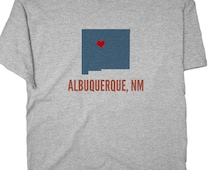 GreatCitees Unisex Albuquerque New Mexico NM HEART Hometown Souvenir Tee Shirt Mens Womens Ladies Youth Kids