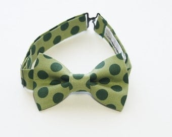Bow Tie - Green with Polka Dot Bowtie