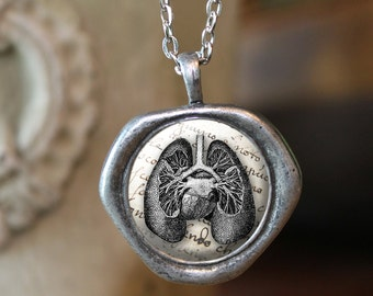 Wax Seal Pendant, Lungs Necklace Jewelry, Lungs Necklace, Gift Idea, Fine Art, Lung Jewelry