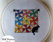 Hanging Pinwheel Quilt and Black Cat Stitch Pattern Only