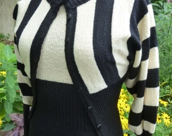 Mod Maxi Knit Dress With Striped Cardigan Black and White Wool Maxi Dress Made by Tricots Size Small 1970s