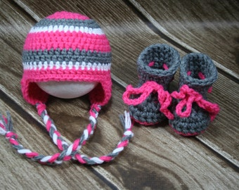 Newborn Girls Crochet Hat and Booties Set, Pink, Grey, White